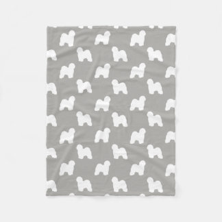 Old English Sheepdog Silhouettes Pattern Fleece Blanket
