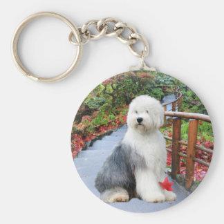 Old English Sheepdog Spring Day Key Ring