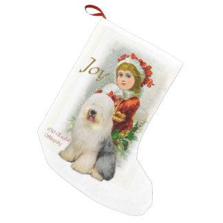 Old English Sheepdog Vintage Christmas Small Christmas Stocking