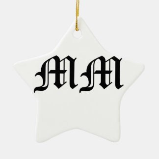 Old English Text Letters MM on White Background Ceramic Star Decoration