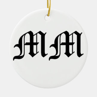 Old English Text Letters MM on White Background Round Ceramic Decoration