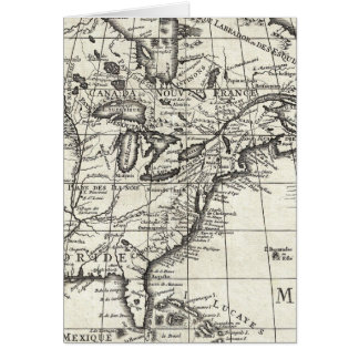 Old engraving: classic map of USA & Canada Card
