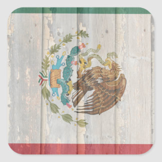 Old faded wood Mexican flag Sticker