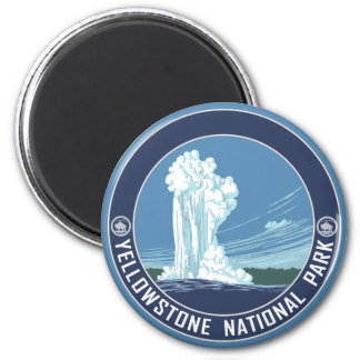 Old Faithful - Yellowstone National Park 6 Cm Round Magnet