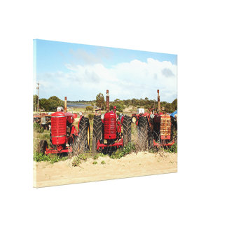 Old farm tractors in the country canvas print