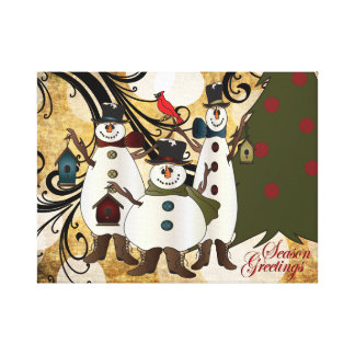 Old Fashion Abstract Snowmen | Season Greetings Canvas Print