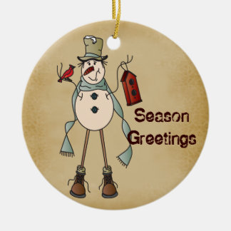 Old Fashion Blue Snowman - Season Greetings Ceramic Ornament