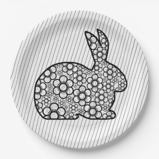 Old Fashion Bunny Easter Paper Plate 9 Inch Paper Plate