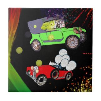 Old fashion car plenty of tennis balls and rakets. ceramic tile