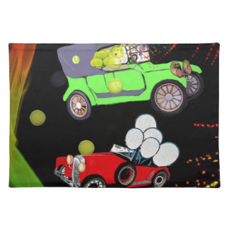 Old fashion car plenty of tennis balls and rakets. placemat
