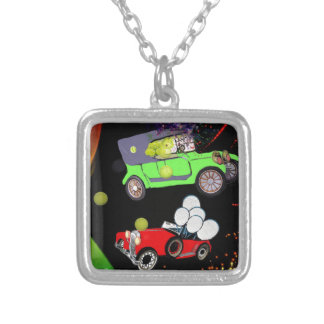Old fashion car plenty of tennis balls and rakets. silver plated necklace