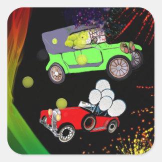 Old fashion car plenty of tennis balls and rakets. square sticker