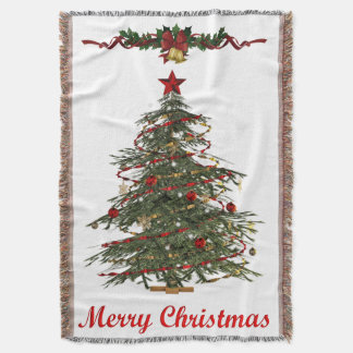 old fashion christmas tree throw blanket