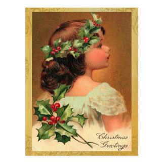 Old Fashion Holly Girl Christmas Holiday Postcard