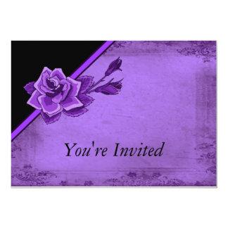Old Fashion Purple Rose Floral 13 Cm X 18 Cm Invitation Card