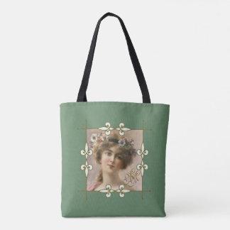 Old-fashion Retro Art Deco Monogram Victorian Lady Tote Bag