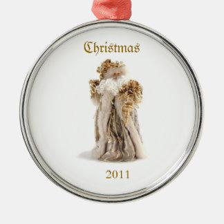 Old Fashion Santa 2011 Silver-Colored Round Decoration