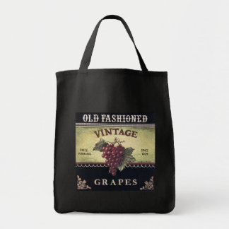 Old Fashion Vintage Grapes, Purple and Black Wine Canvas Bag