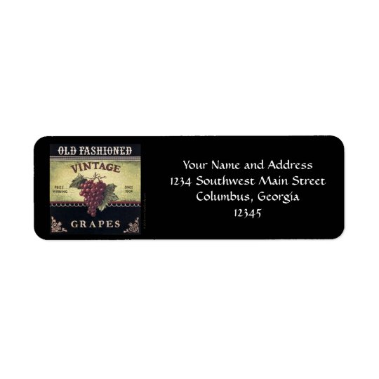 Old Fashion Vintage Grapes, Purple and Black Wine Return Address Label