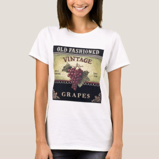 Old Fashion Vintage Grapes, Purple and Black Wine T-Shirt