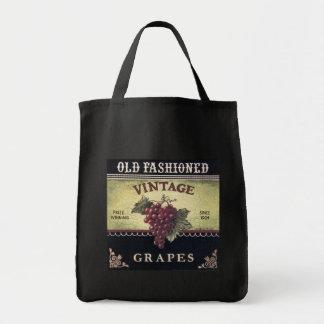 Old Fashion Vintage Grapes, Purple and Black Wine Canvas Bag