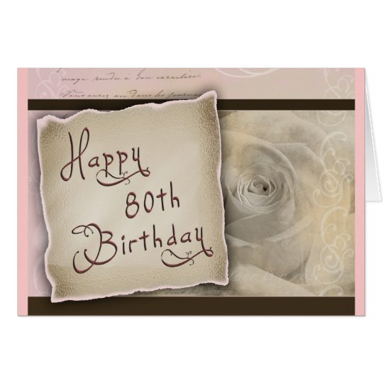 Old Fashioned 80th Birthday Greeting Card