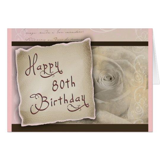 Old Fashioned 80th Birthday Greeting Greeting Card