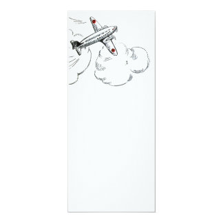 Old Fashioned Airplane Drawing 10 Cm X 24 Cm Invitation Card