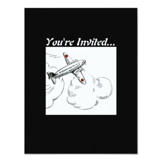 Old Fashioned Airplane Drawing 11 Cm X 14 Cm Invitation Card
