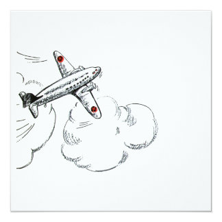 Old Fashioned Airplane Drawing 13 Cm X 13 Cm Square Invitation Card
