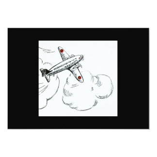 Old Fashioned Airplane Drawing 13 Cm X 18 Cm Invitation Card