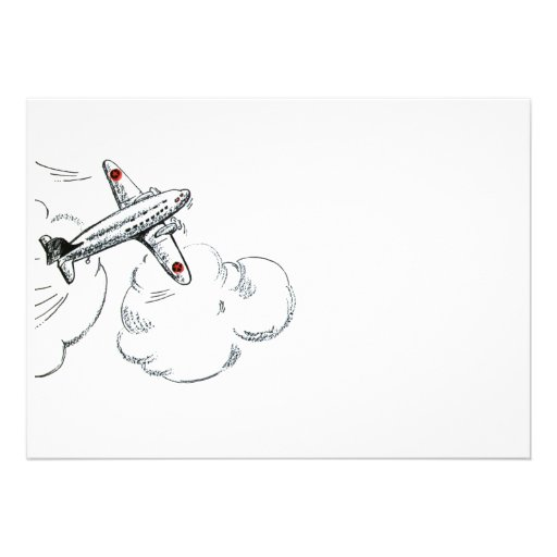 Old Fashioned Airplane Drawing Invitations