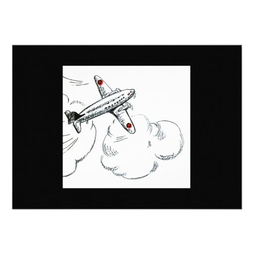 Old Fashioned Airplane Drawing Announcement