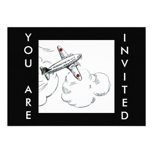 Old Fashioned Airplane Drawing Personalized Announcement