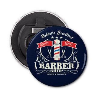 Old Fashioned Barber Shop Pole Monogram Bottle Opener