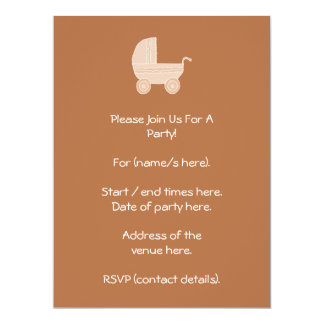 Old Fashioned Beige Baby Stroller on Brown. 17 Cm X 22 Cm Invitation Card