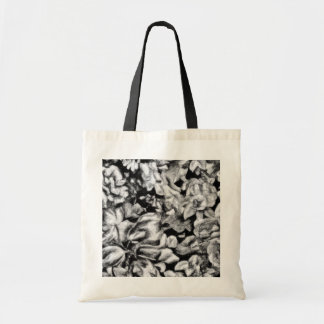 Old Fashioned Black and White Floral Budget Tote Bag