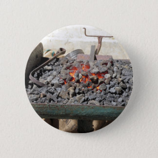 Old-fashioned blacksmith furnace . Burning coals 6 Cm Round Badge