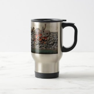 Old-fashioned blacksmith furnace . Burning coals Travel Mug