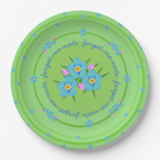 Old-fashioned Bouquet Forget-Me-Nots Party Plate 9 Inch Paper Plate