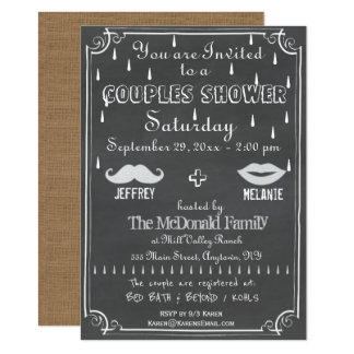 Old Fashioned Chalkboard Couples Shower Card