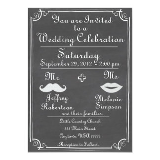 Old Fashioned Chalkboard Wedding Invitation