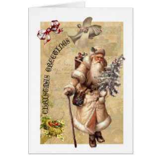 Old fashioned Christmas card with steampunk twist