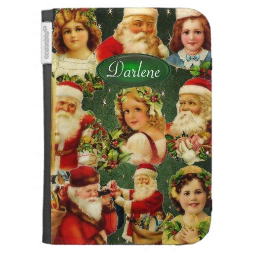 Old Fashioned Christmas Girls & Santa Monogram Kindle Keyboard Cases