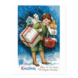 Old Fashioned Christmas Presents Postcard