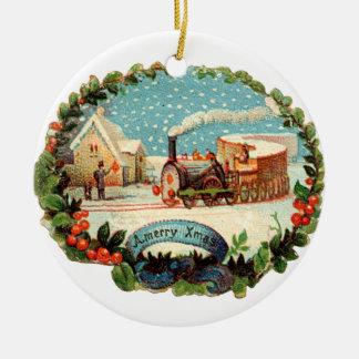 Old-fashioned Christmas, Steam train Ceramic Ornament