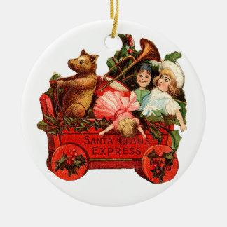 Old-fashioned Christmas, Toy box Ceramic Ornament