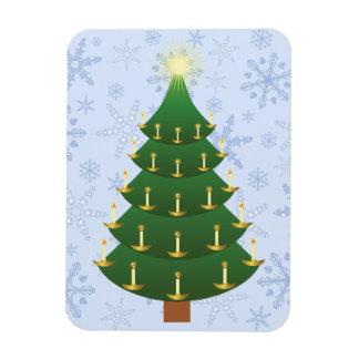 Old Fashioned Christmas Tree on Snowflake Blizzard Rectangular Photo Magnet