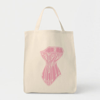 Old Fashioned Corset Pink Grocery Tote Bag