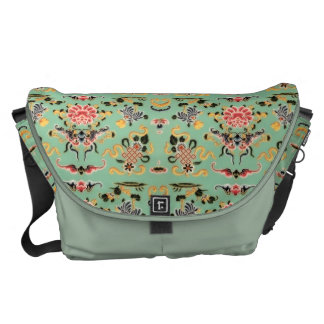 Old Fashioned Floral on Mint Messenger Bags